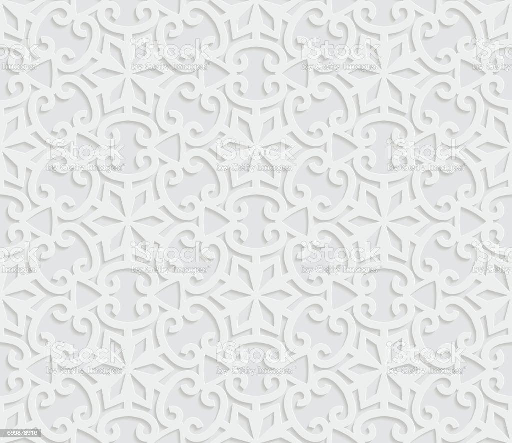 motif g om trique arabe sans soudure fond blanc 3d ornement indien motif persan texture vecteur. Black Bedroom Furniture Sets. Home Design Ideas