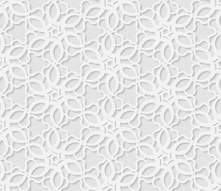 Seamless arabic geometric  pattern, 3D white pattern, indian ornament,  vector. Endless texture can be used for wallpaper, pattern fills, web page  background,  surface textures.
