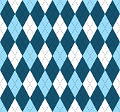 istock Seamless argyle pattern in shades of blue and white with black stitch. 936305936