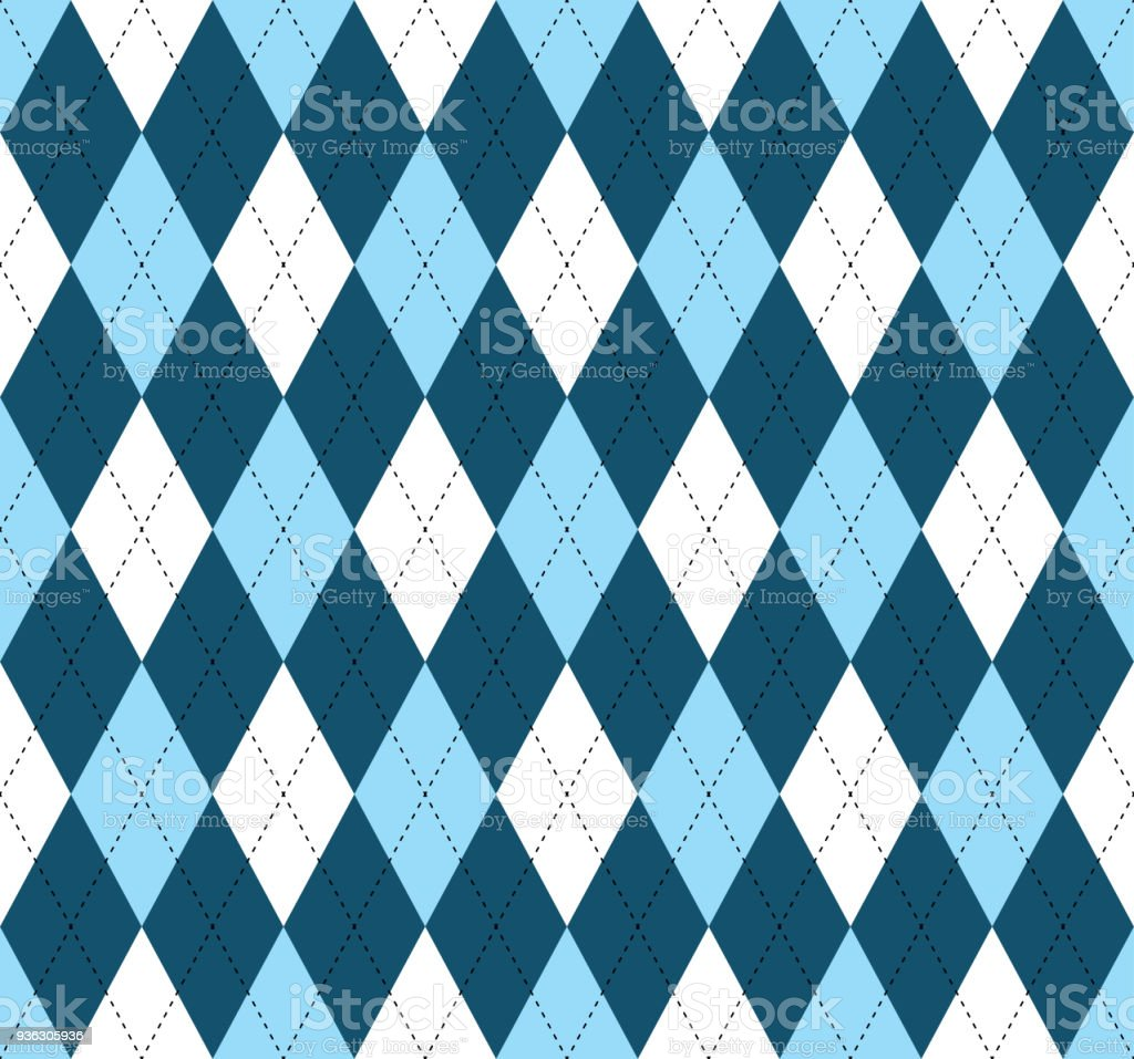 Seamless argyle pattern in shades of blue and white with black stitch. vector art illustration