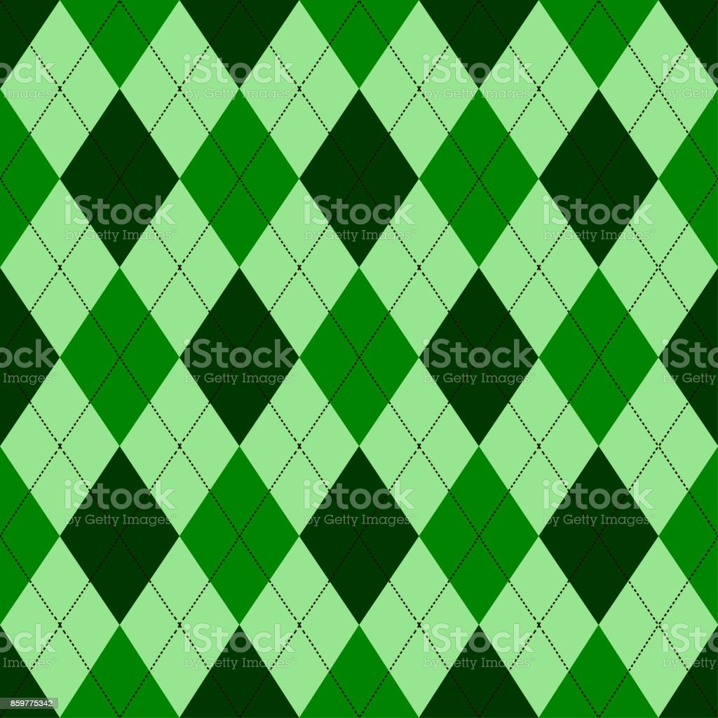 Seamless argyle pattern in shades of green with white stitch. Vector illustration. vector art illustration