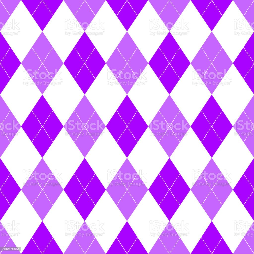 Seamless argyle pattern in shades of pink with white stitch. Vector illustration. vector art illustration