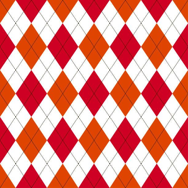 illustrations, cliparts, dessins animés et icônes de motif argyle sans couture dans les tons de rouge et orange avec le point blanc. illustration vectorielle. - pastille