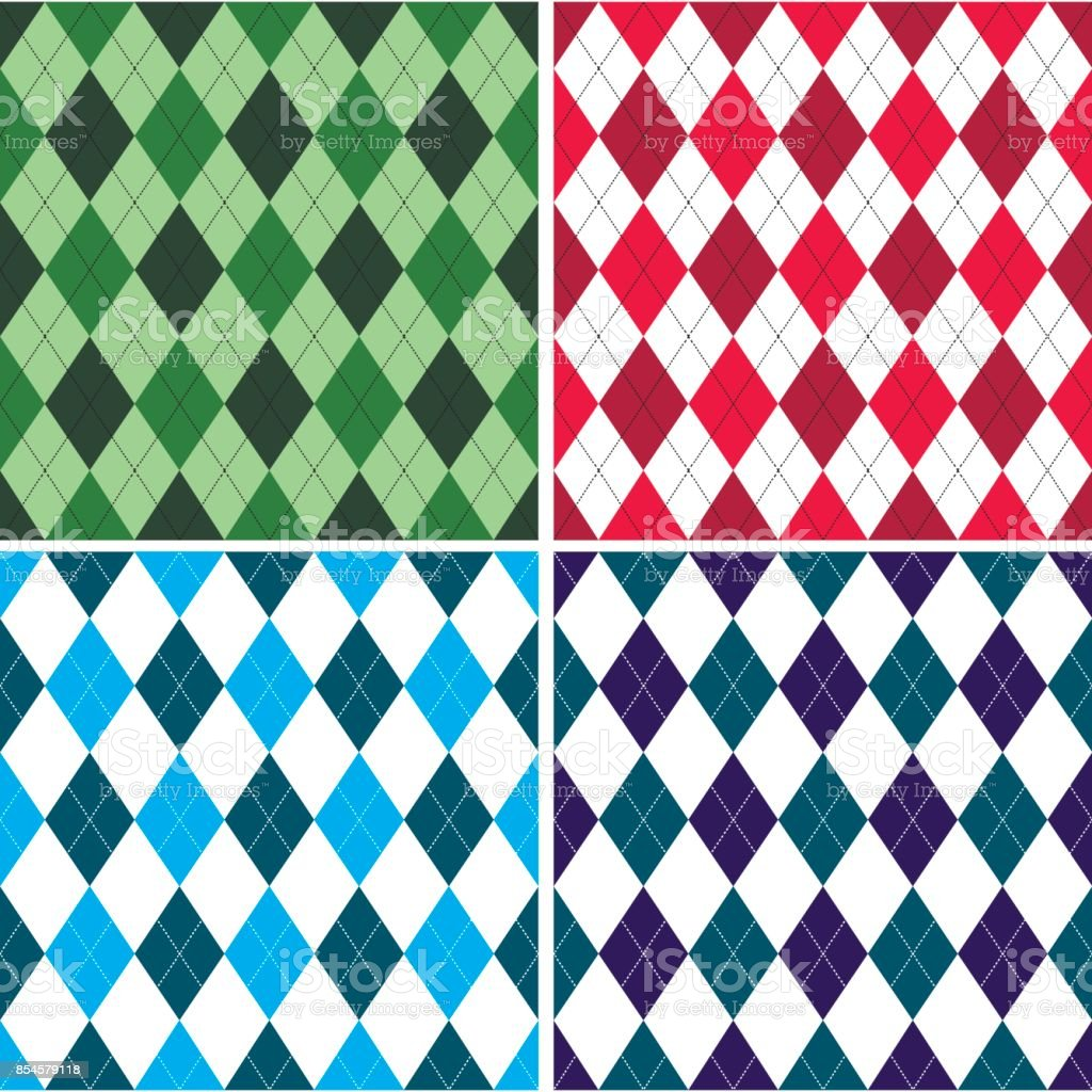 Seamless argyle pattern in shades with white stitch. Vector illustration. vector art illustration