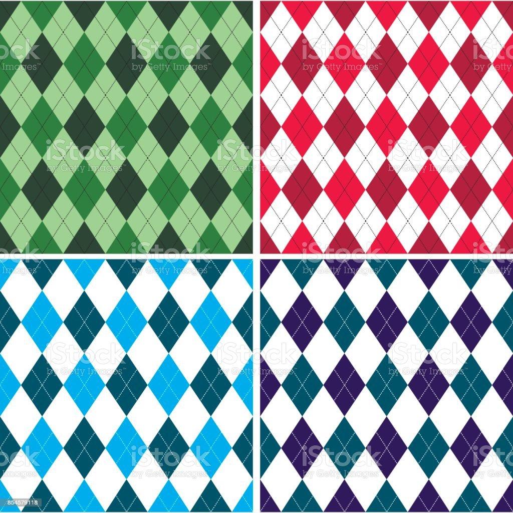 Patrón transparente de argyle en tonos con punto blanco. Ilustración de vector. - ilustración de arte vectorial