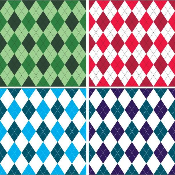 ilustrações, clipart, desenhos animados e ícones de padrão de argyle sem costura em tons com ponto branco. ilustração em vetor. - golfe
