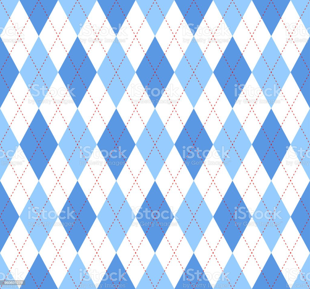 Seamless argyle plaid pattern in blue, azure and white vector art illustration