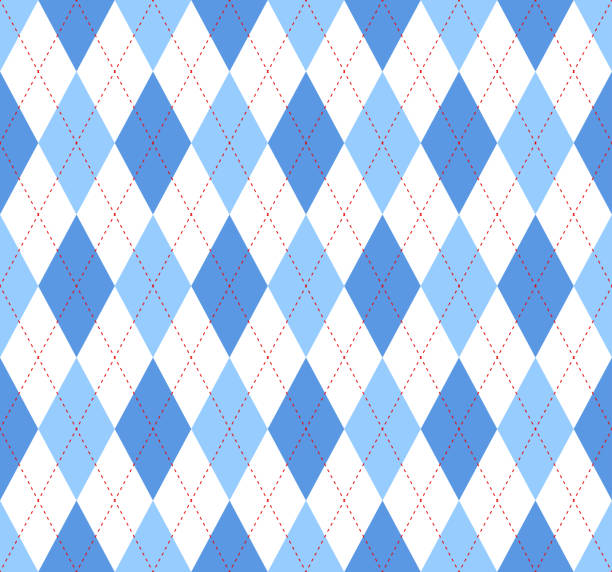 seamless argyle plaid pattern in blue, azure and white - preppy fashion stock illustrations, clip art, cartoons, & icons