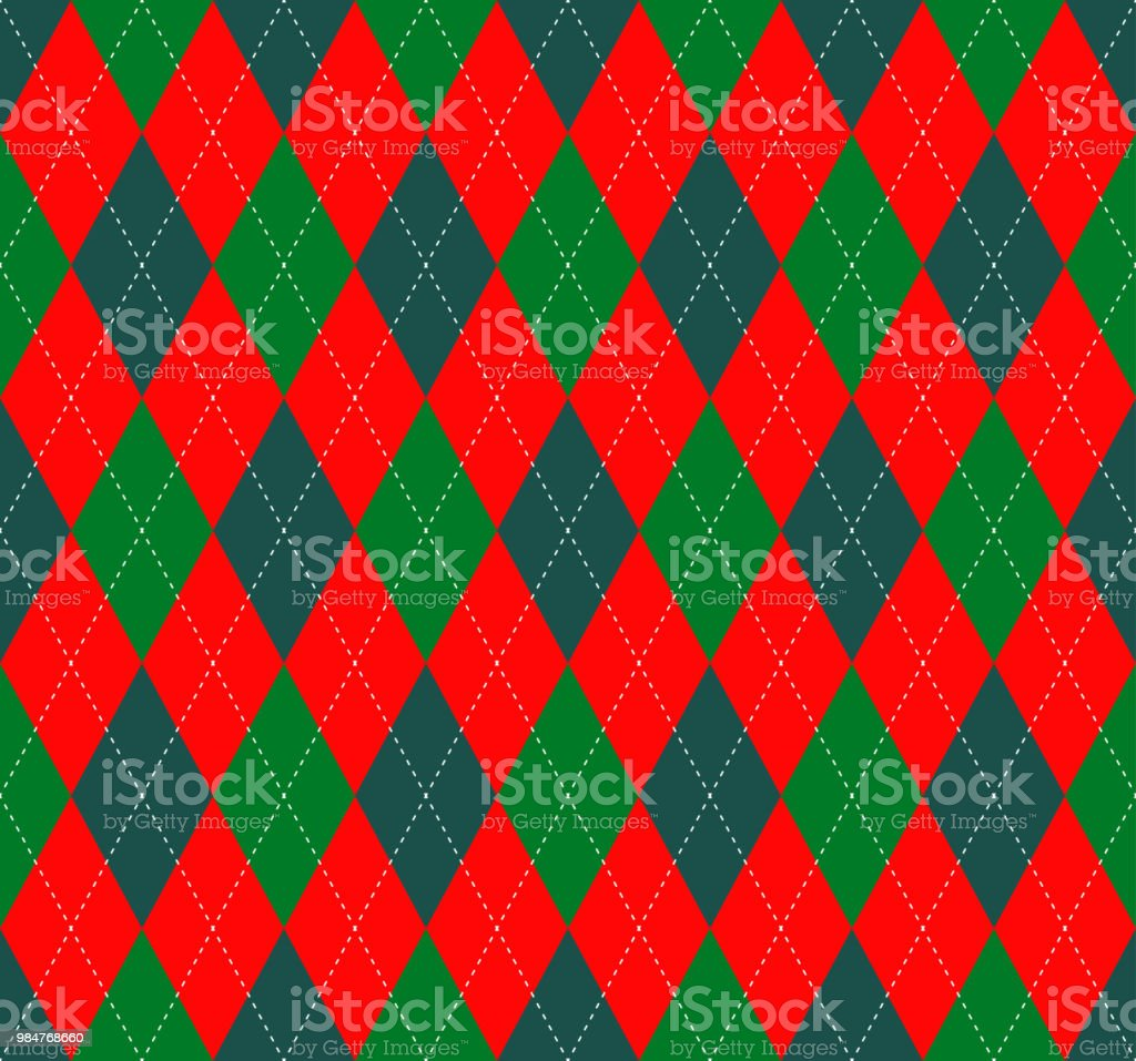 seamless argyle plaid pattern in classic christmas color palette of red green and white royalty - Classic Christmas
