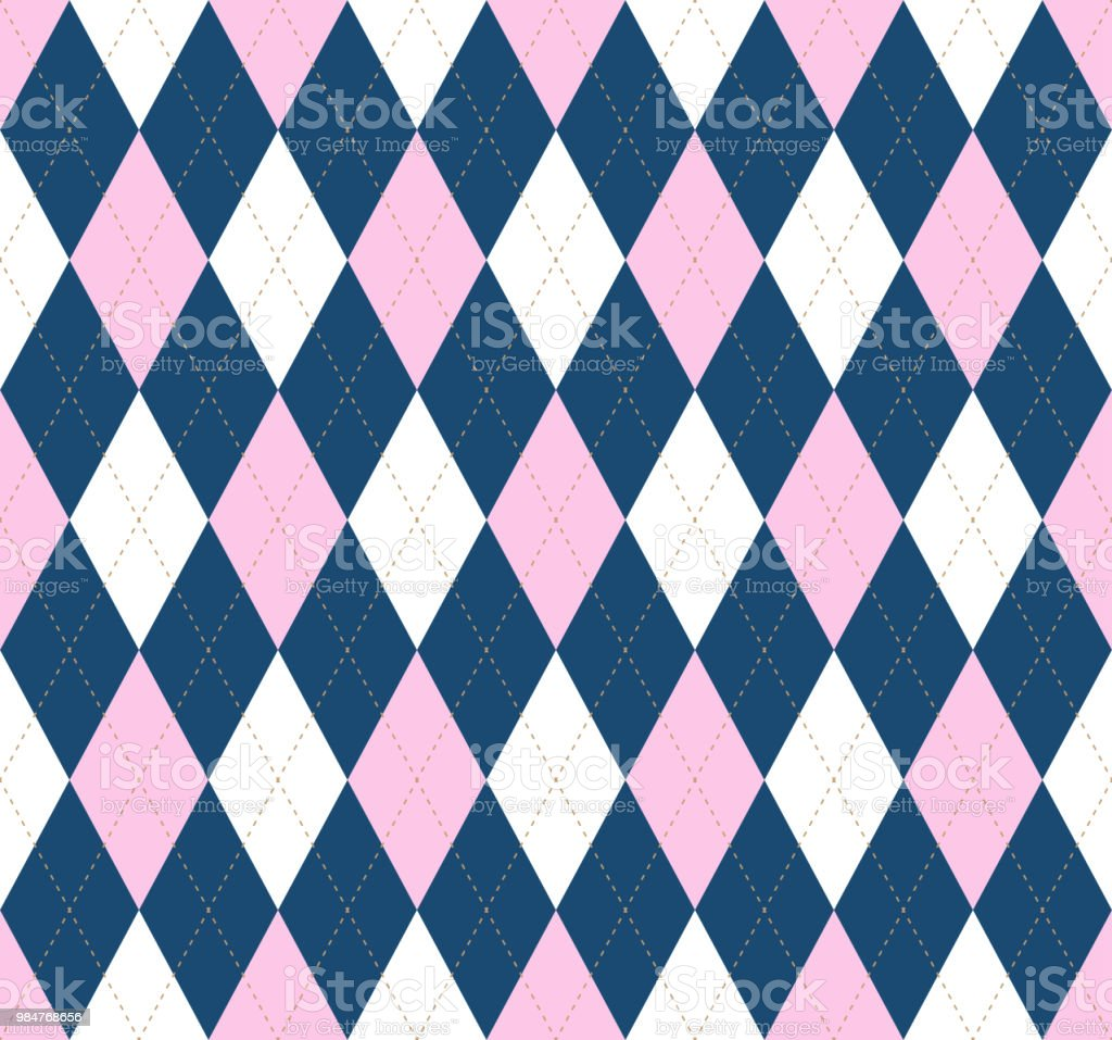 Seamless argyle plaid pattern in pink, white and dark blue. vector art illustration