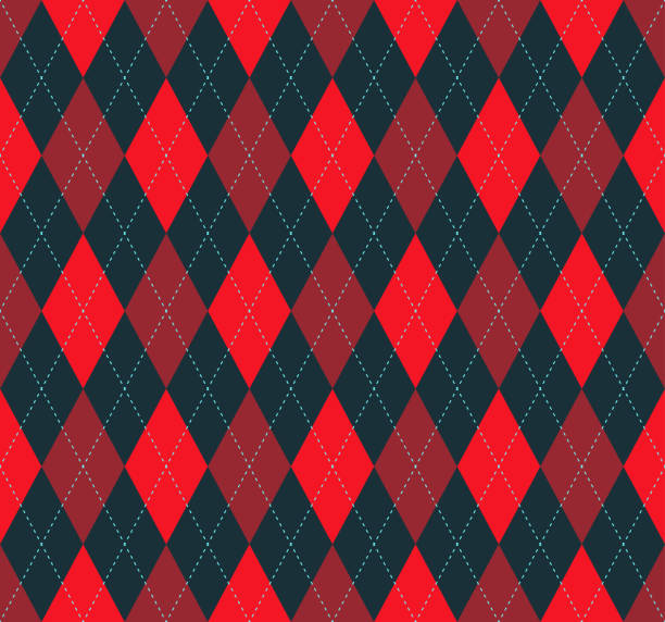 Seamless argyle plaid pattern in red, burgundy and dark blackish-gray vector art illustration
