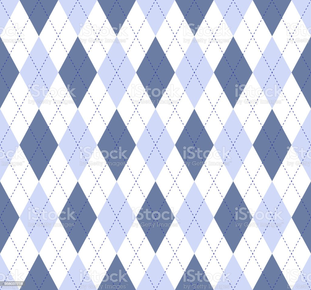 Seamless argyle plaid pattern in slate blue, pale cornflower and white with cobalt blue stitch. vector art illustration