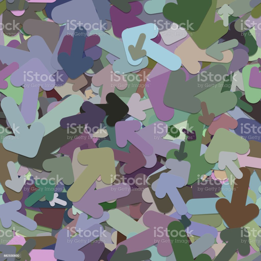Seamless arrow background pattern - vector illustration from colorful rotated rounded arrows with shadow effect vector art illustration