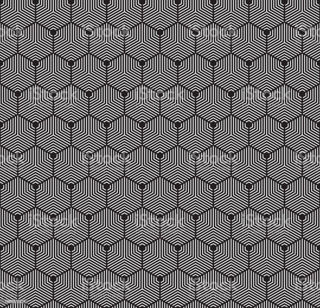 Textura de hexágono geométrica abstrata Arte Deco sem costura. Padrão de contorno hexagonal concêntrico. - ilustração de arte em vetor