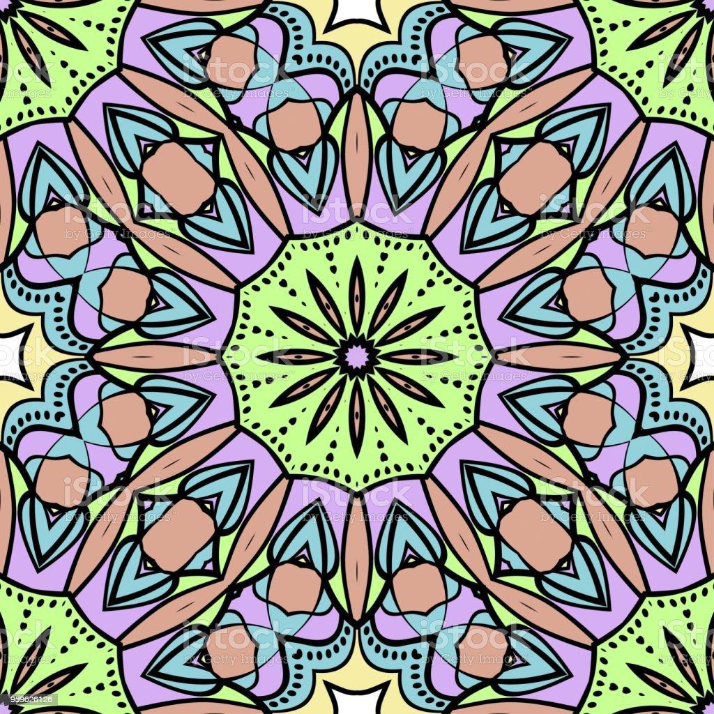 Patrón floral transparente estilo art deco con adornos de estilo moderno en fondo de color. Para fondo de pantalla, libro de cubierta, tela, recortes. - arte vectorial de Abstracto libre de derechos