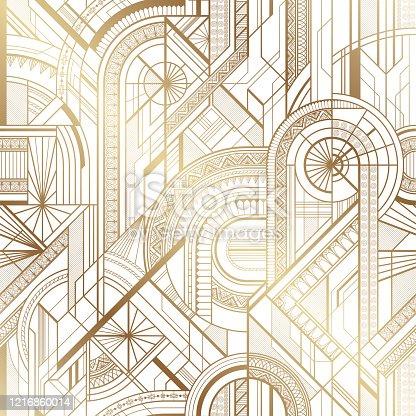 Seamless art deco geometric gold and white pattern