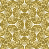 seamless gold colored art deco pattern of overlapping arcs.