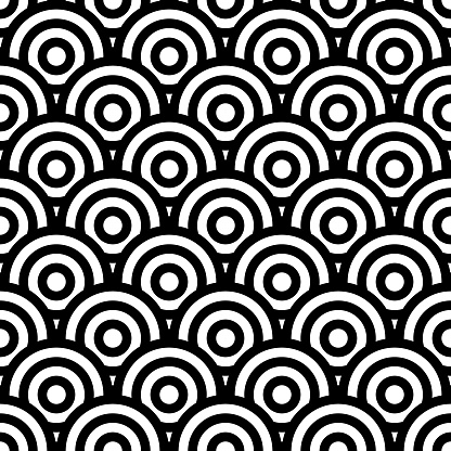 Seamless art texture with circle elements. Vector art.