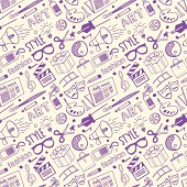 Seamless vector background contains doodle arts & styling drawings.