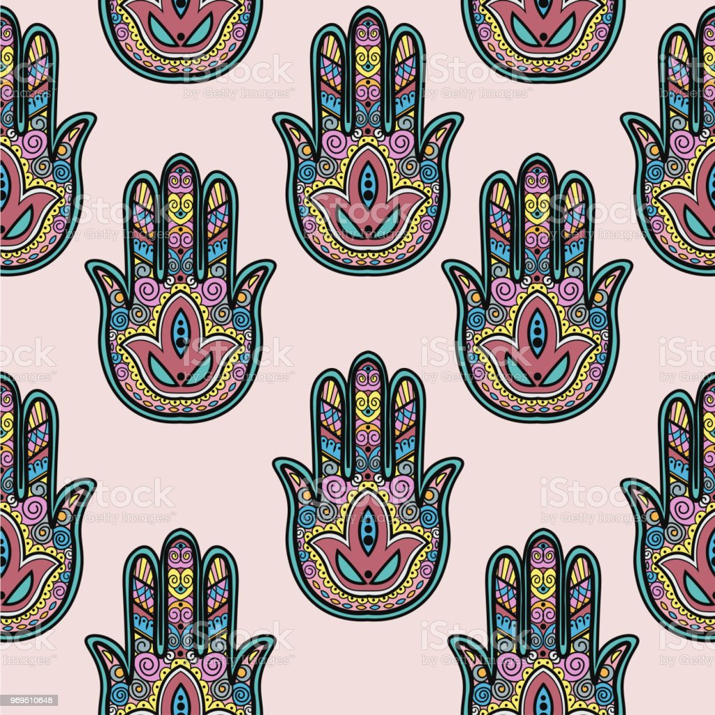 Seamless Asian Pattern With Hand Symbol For Traditional Textile
