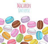 Seamless assorted macarons horiaontal pattern