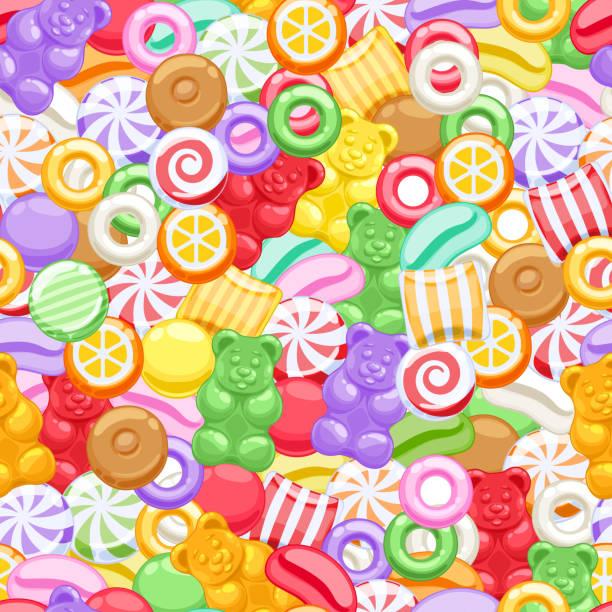 stockillustraties, clipart, cartoons en iconen met seamless assorted sweets candies background - kauwgomachtig
