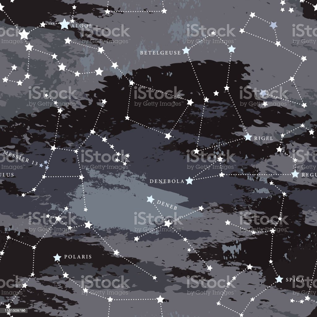 Simple, modern seamless astronomy patterned background with major...