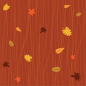 Vector seamless fall pattern. Can be used as a seamless background or as a single image. Each element in a separate layer for easy manipulation and custom coloring (layers: background color, dark stripes, medium stripes, light stripes, leaves, pollen).