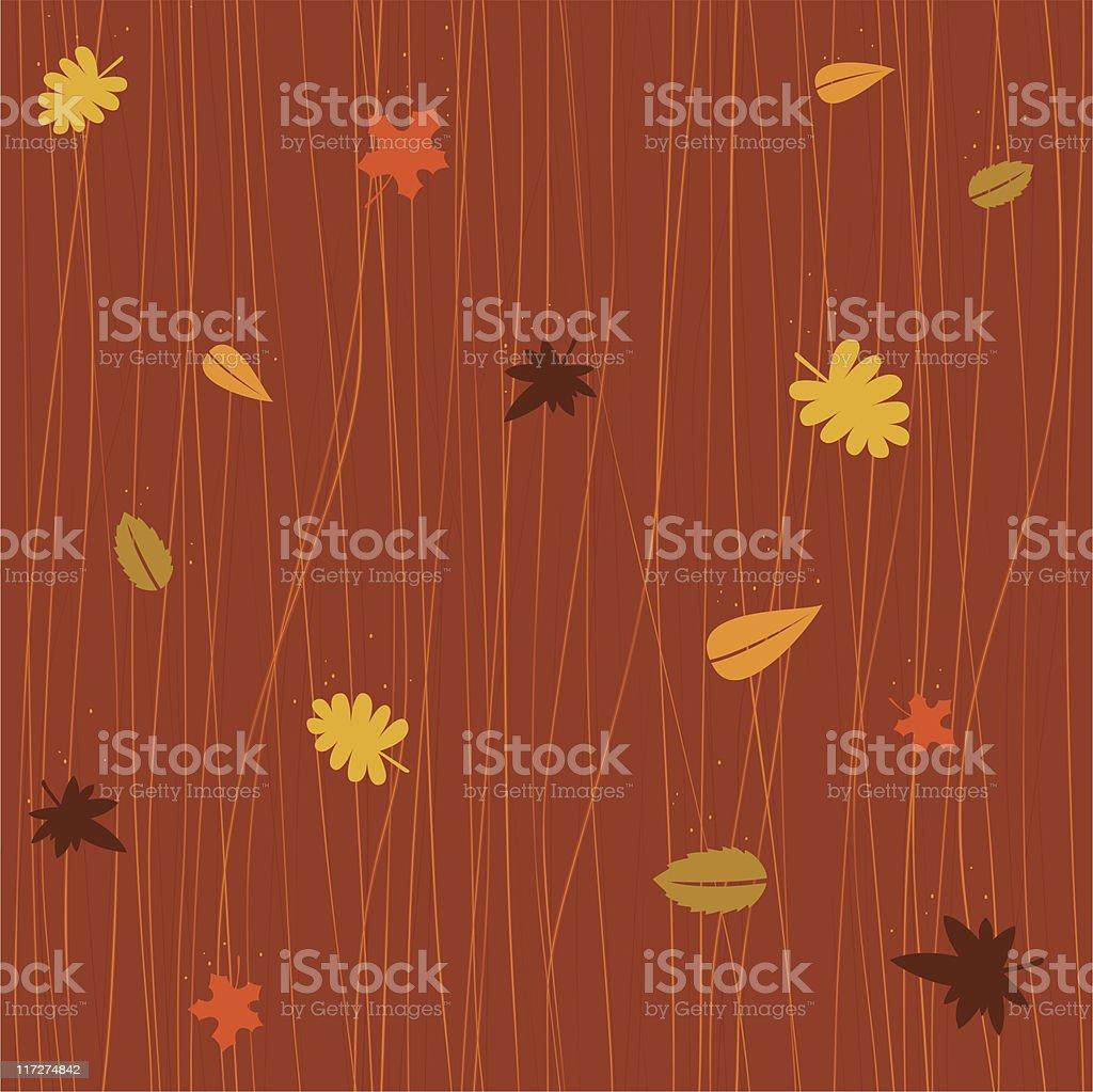 Seamless autumn falling leaves vector art illustration