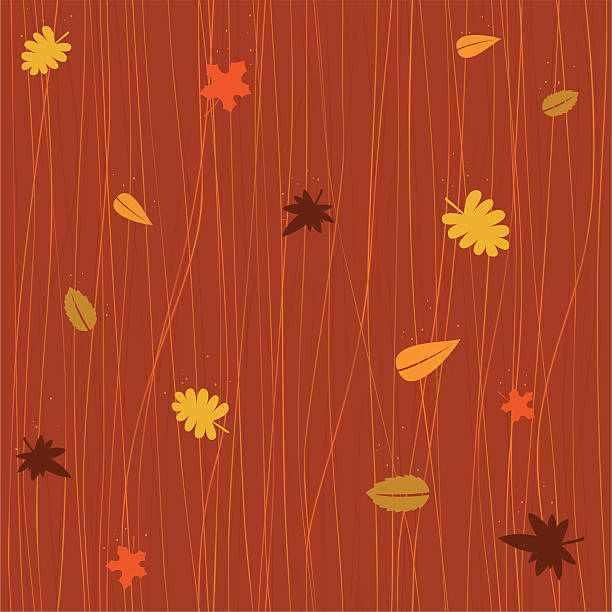 Seamless autumn falling leaves vector art illustration