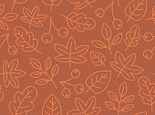 Seamless autumn leaves background pattern.