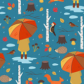seamless autumn pattern with a girl under an umbrella- vector illustration, eps
