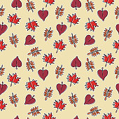 Seamless autumn trendy hand drawn style pattern with leaves colorful background.