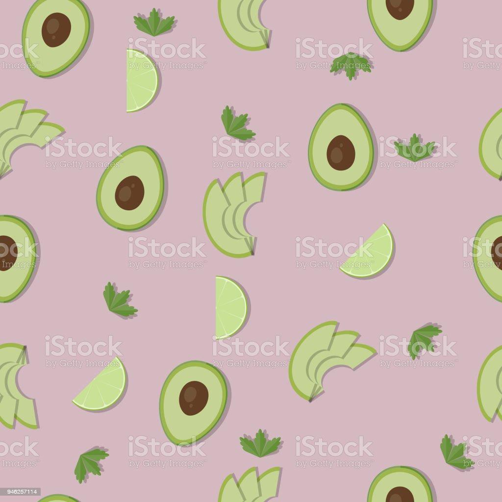 Seamless avocado pattern background vector art illustration