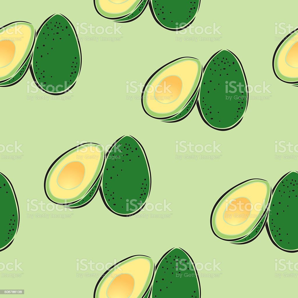 Seamless Avocado Wallpaper vector art illustration