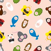 Seamless vector illustration of babies wearing animal costumes.