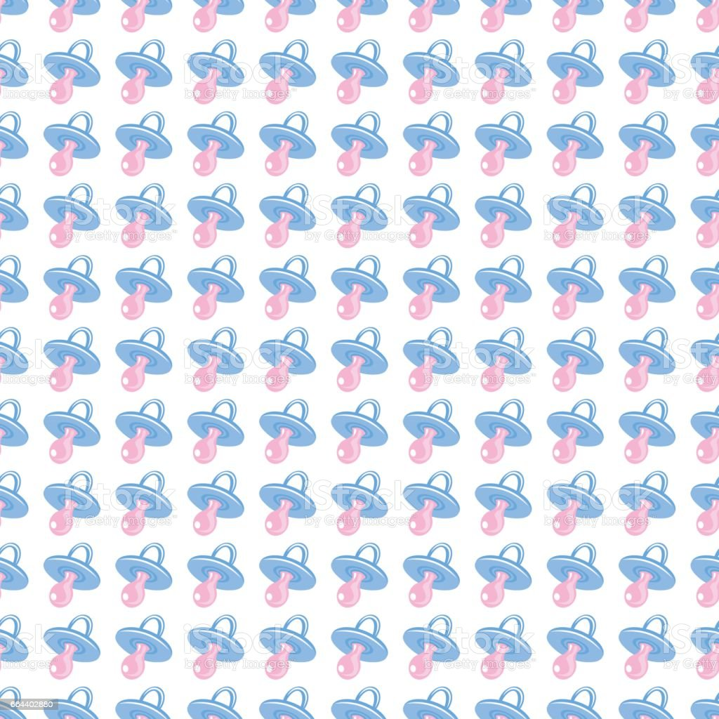 Seamless baby background for use in design, web site, packing, textile, fabric. Babys dummy pattern vector art illustration