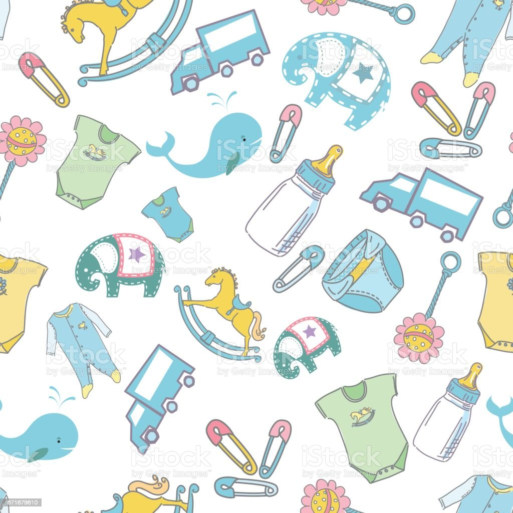 seamless baby background pattern stock vector art & more images of
