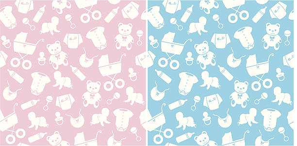 Seamless Baby Pattern A seamless repeatable baby pattern in two colour ways for boys and girls. infant bodysuit stock illustrations