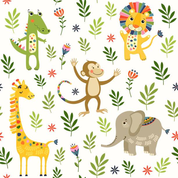 Nahtlose Baby Muster mit Löwen, Giraffen, Affen und Krokodil auf weiß. Vektor-Illustration mit wilden Tieren im Dschungel für Kinder. Nahtlose Kinder Hintergrund für Tapeten oder Textilien. – Vektorgrafik