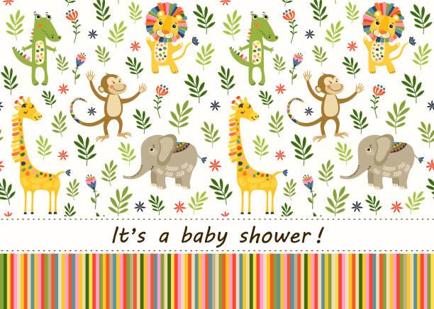 nahtlose baby muster mit löwen, giraffen, affen und elefanten. illustration mit tieren im dschungel für kinder. kinder hintergrund für tapeten, textilien. baby dusche muster oder geburtstag grußkarte. - giraffenhumor stock-grafiken, -clipart, -cartoons und -symbole