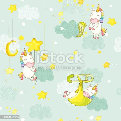 Seamless Baby Sleeping on a Star Unicorn Background Pattern in Vector