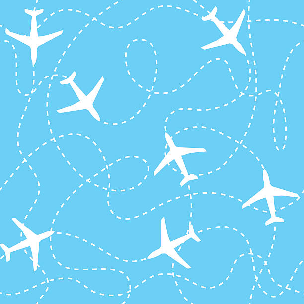 Seamless background airplanes flying with dashed lines as tracks or Seamless background with airplanes flying with dashed lines as tracks or routes on blue sky aviation and environment summit stock illustrations