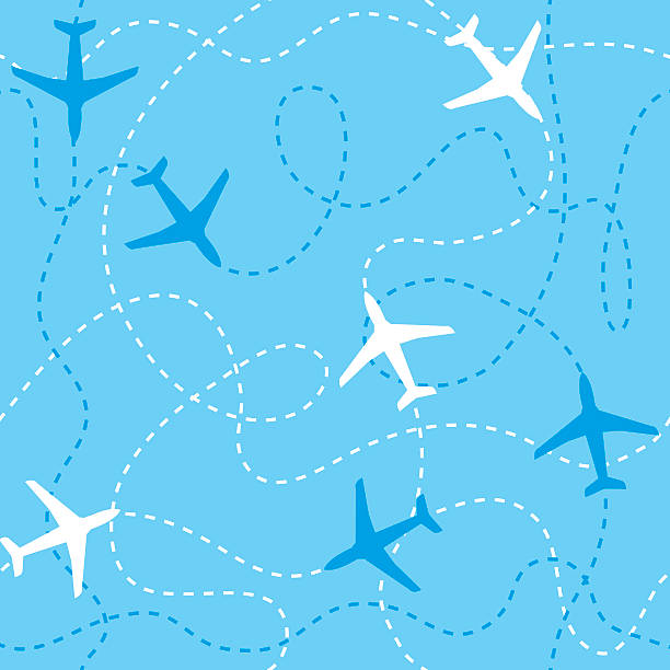 Seamless background airplanes flying with dashed lines as tracks or Seamless background airplanes flying with dashed lines as tracks or routes on blue sky aviation and environment summit stock illustrations