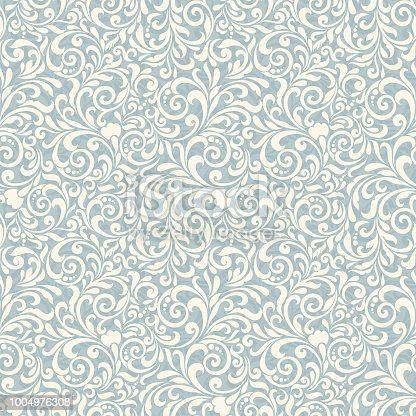 istock Seamless background baroque style. Vintage Pattern. Retro Victorian. Ornament in Damascus style. Elements of flowers, leaves. 1004976308