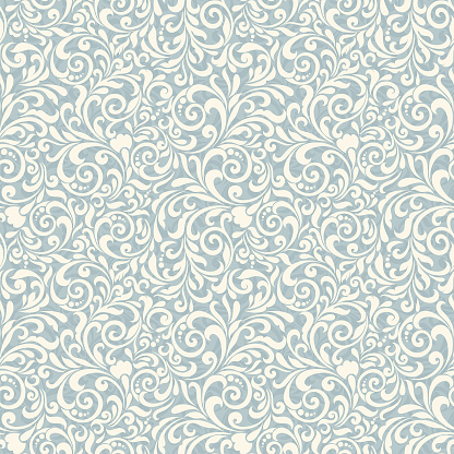 Seamless background baroque style. Vintage Pattern. Retro Victorian. Ornament in Damascus style. Elements of flowers, leaves.