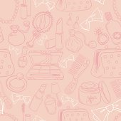Make up tools and products in seamless pattern. High resolution jpg file included.