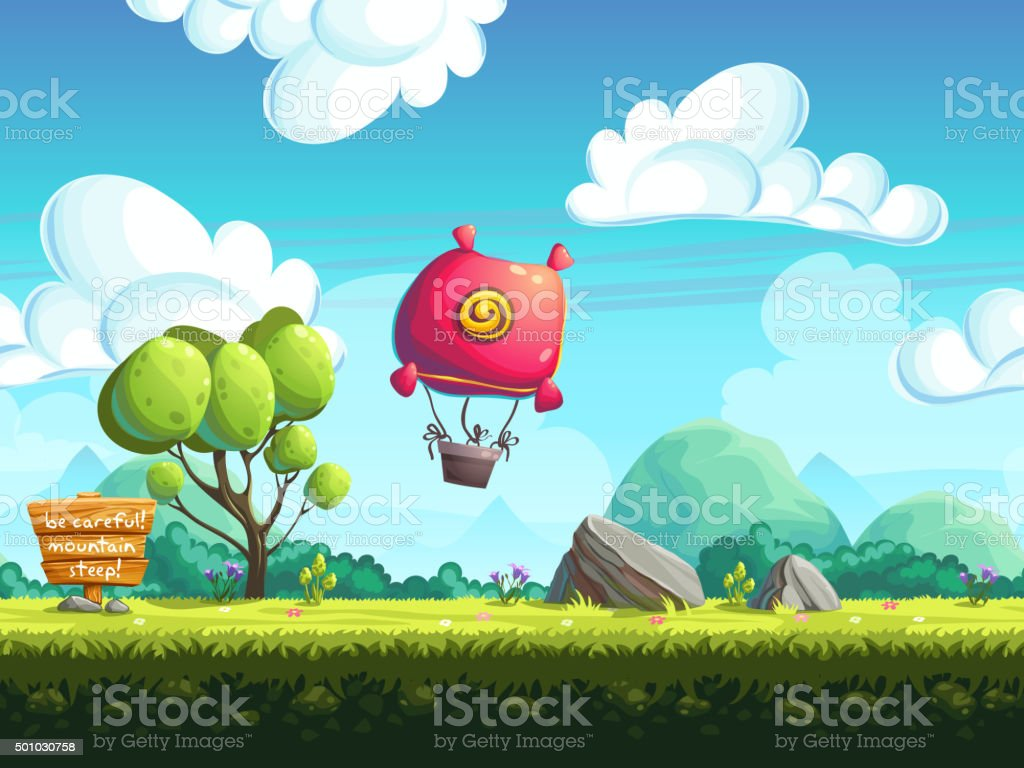 seamless vector background blimp above the hills