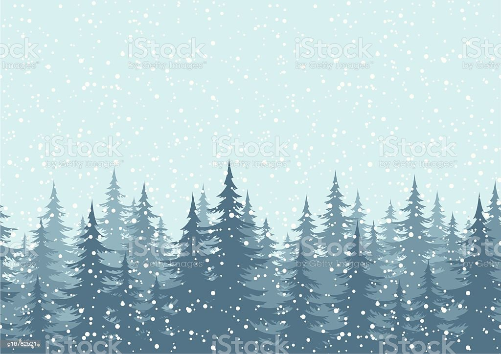 Seamless background, Christmas trees with snow vector art illustration