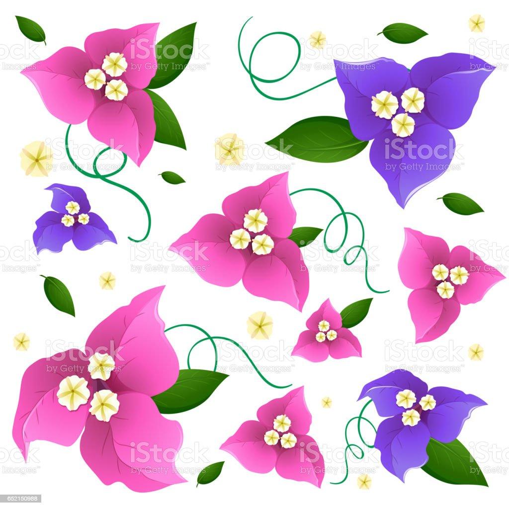 Pembe ve mor renkli çiçekler ile sorunsuz arka plan tasarım vektör sanat illüstrasyonu